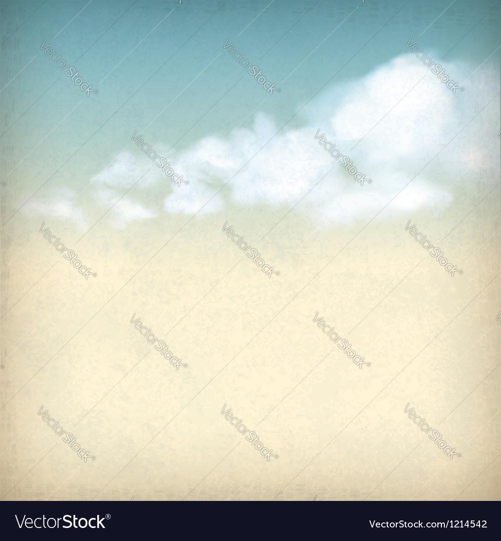 Vintage sky clouds old paper textured background vector image