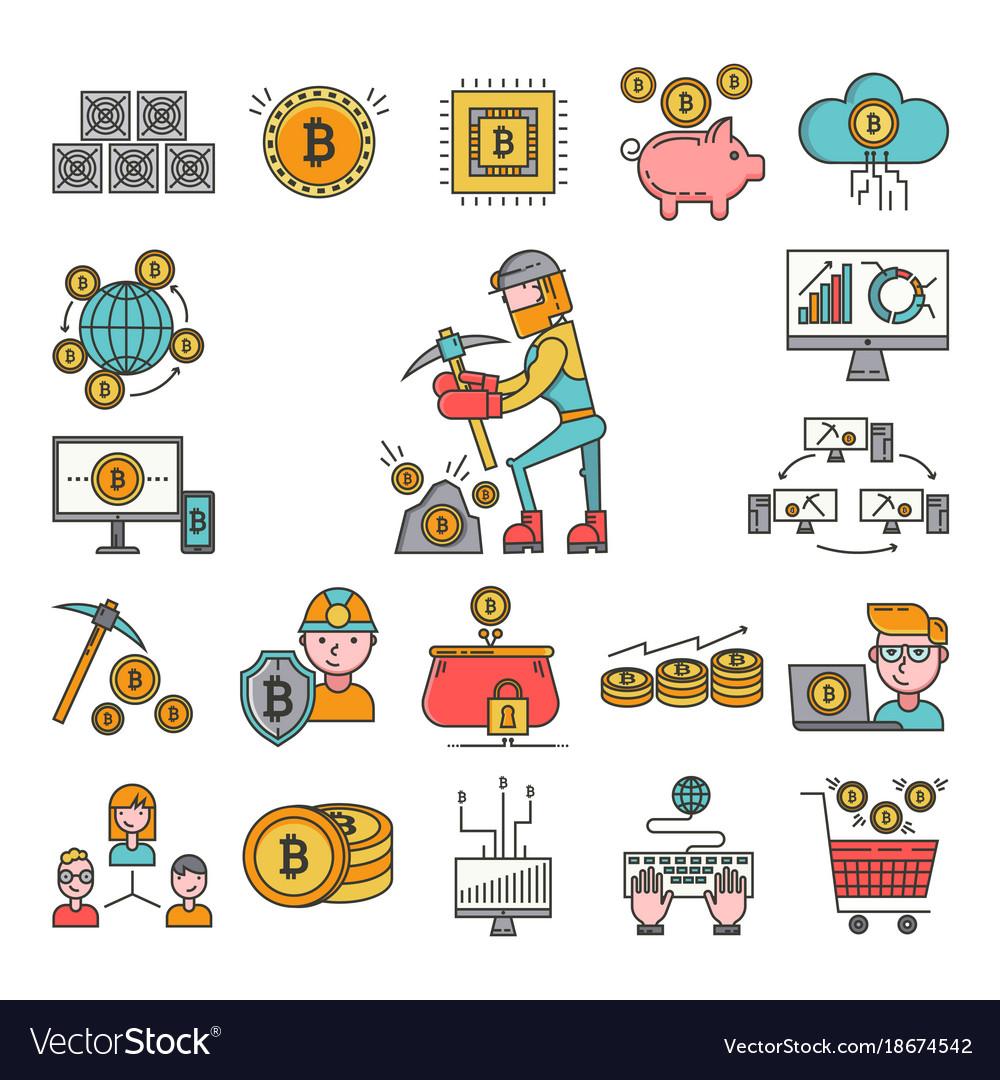 Bitcoin mining money icons virtual crypto currence vector image