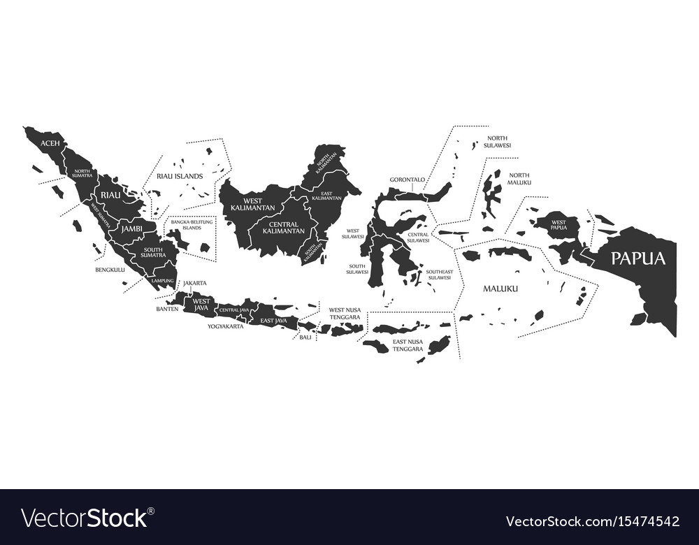Indonesia map labelled black vector image