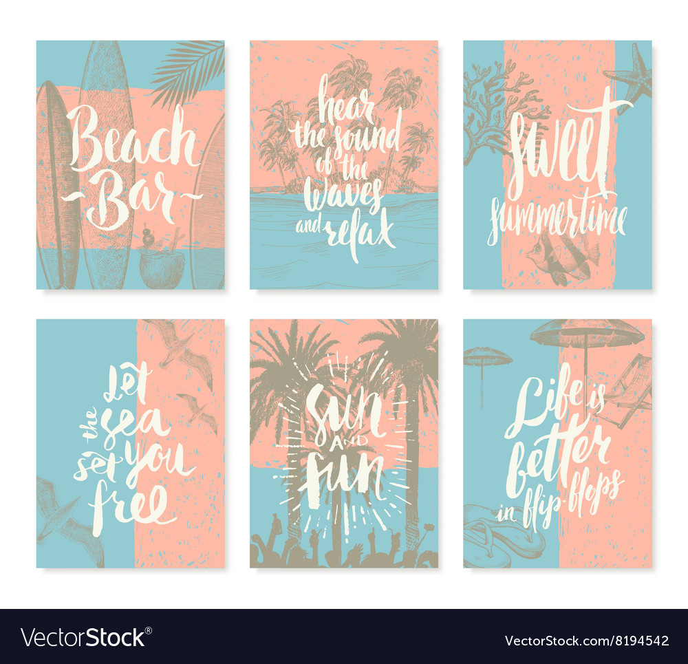 Set of vacation and summer holidays posters vector image