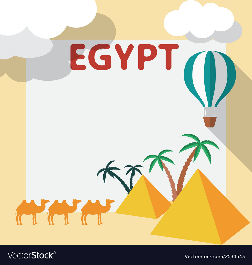 Egypt Travel flat design with template and palm vector image