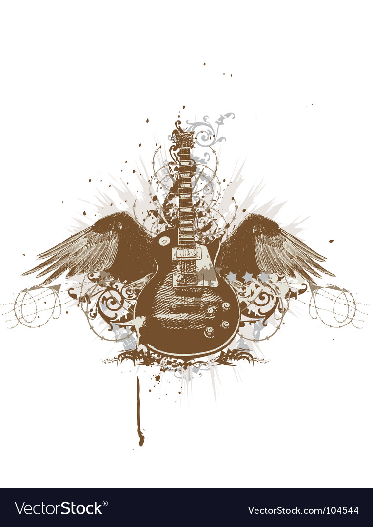 Flying guitar Vector Image