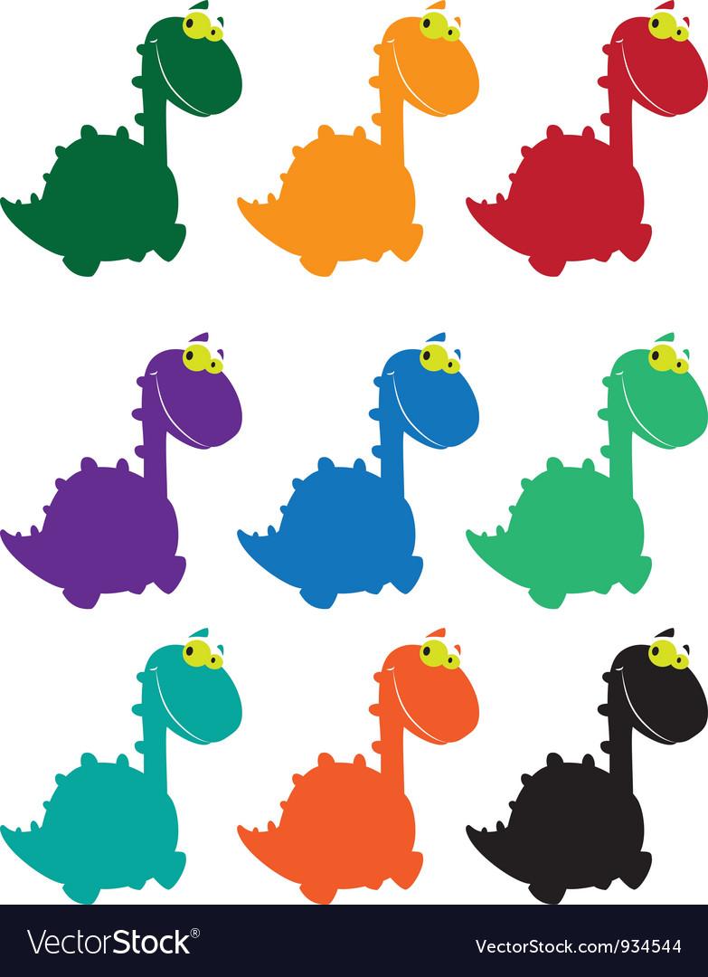 Cute dino cartoon colored vector image