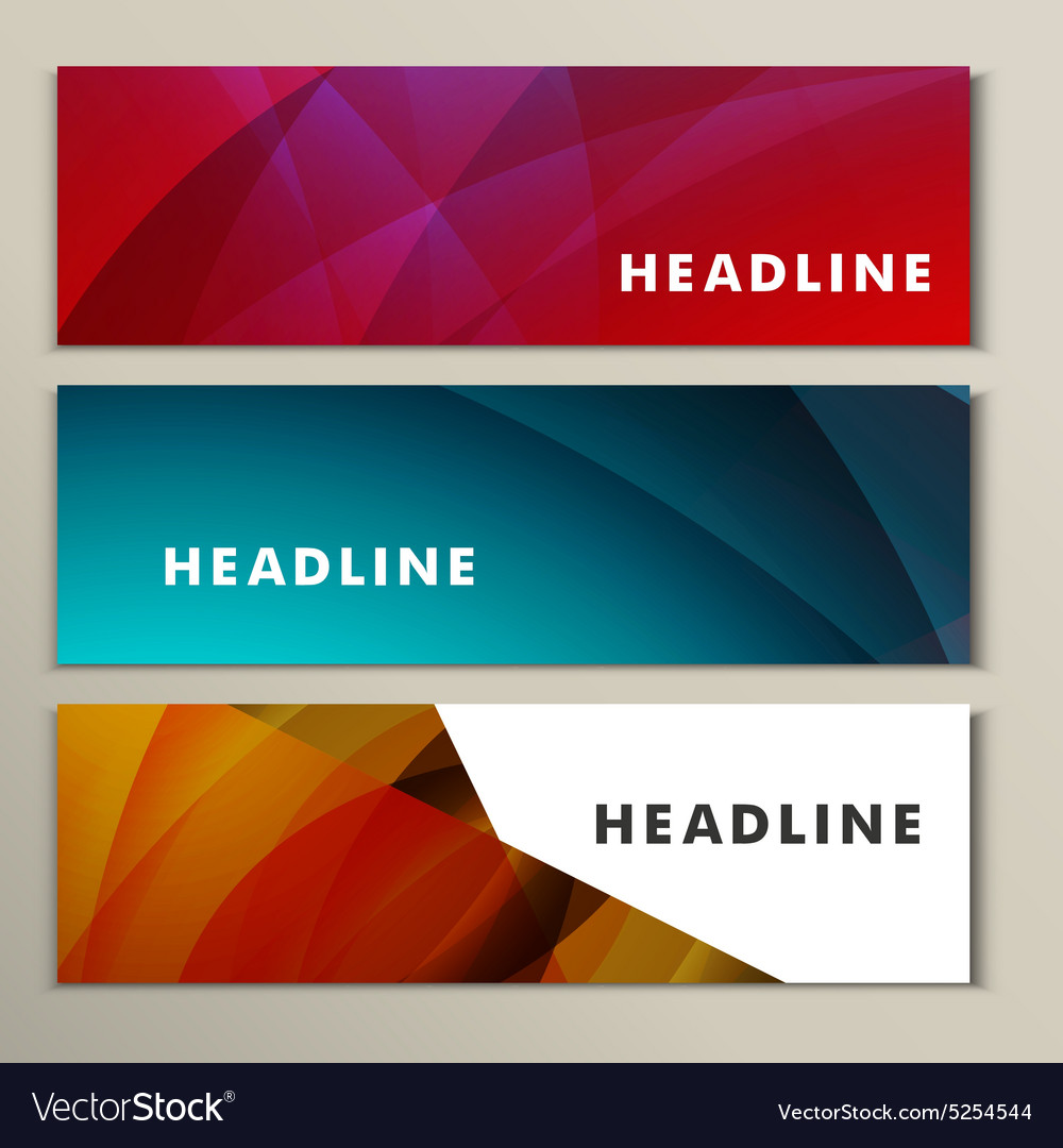 Set abstract backgrounds blue red and yellow vector image
