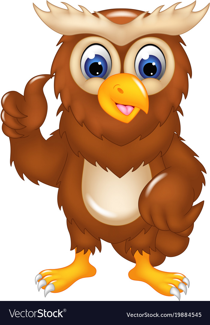 Cute owl cartoon posing with smile and thumb up vector image voltagebd Images