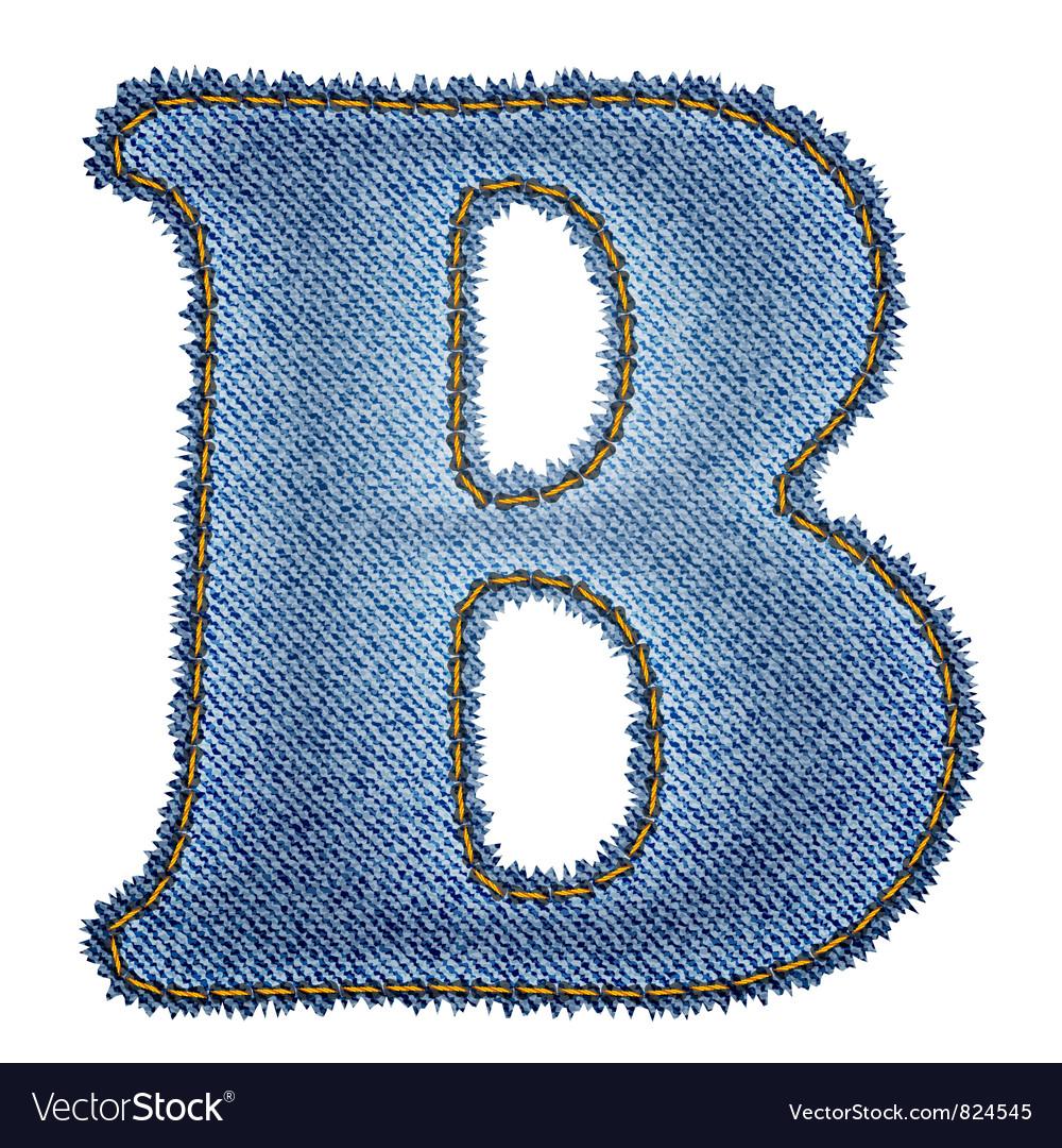 Jeans alphabet Denim letter B vector image