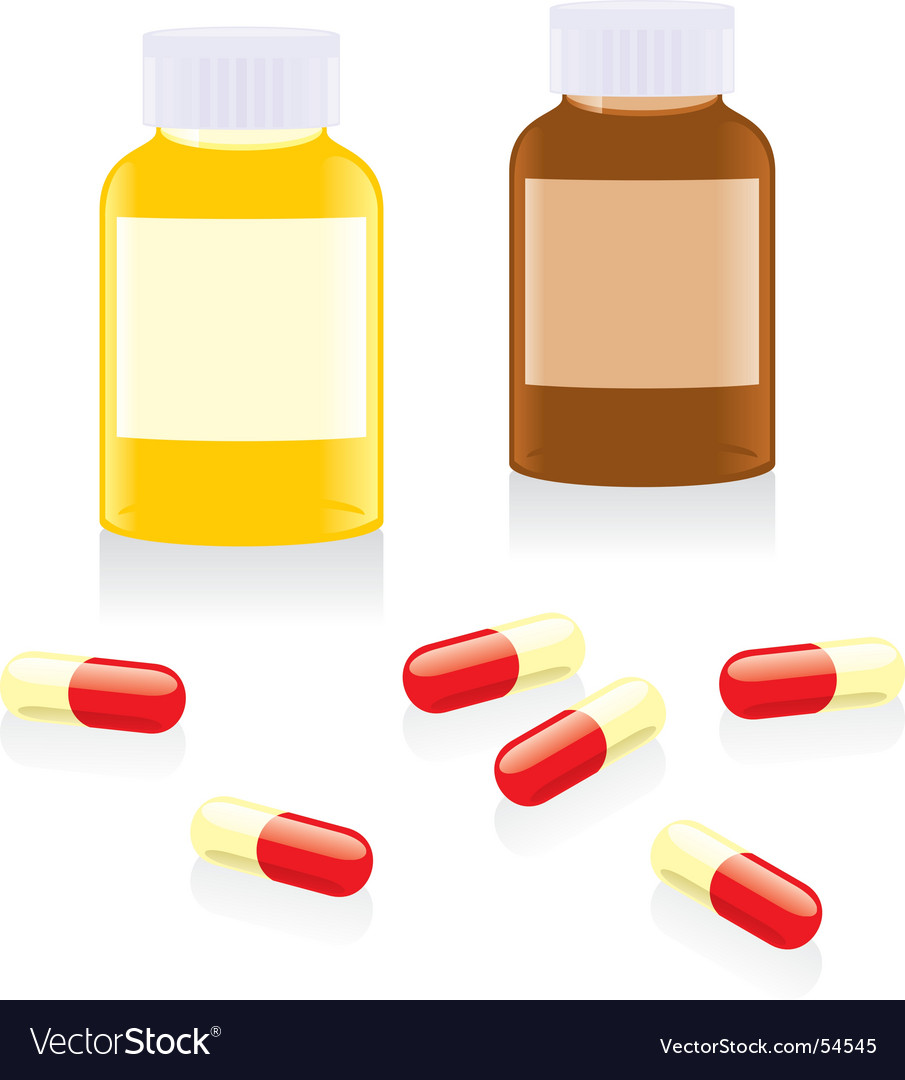 Painkiller pills and bottles vector image