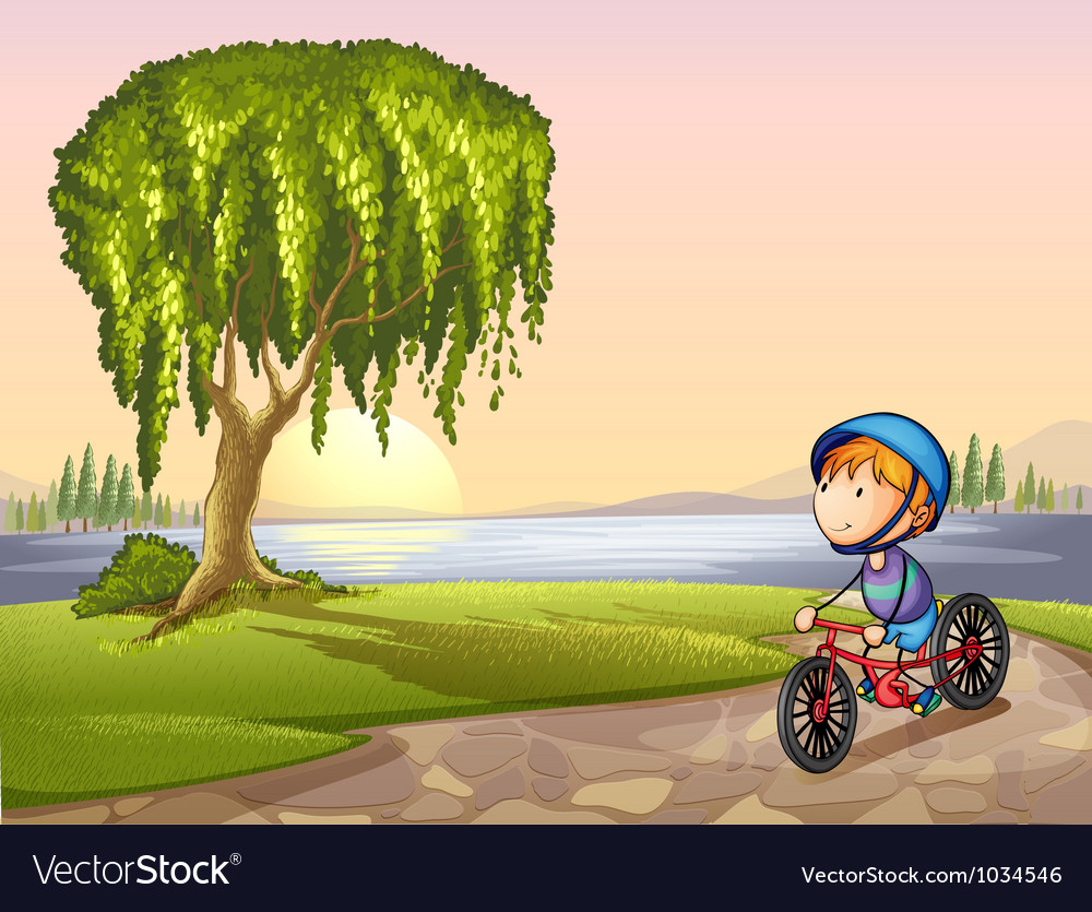 Boy in park vector image