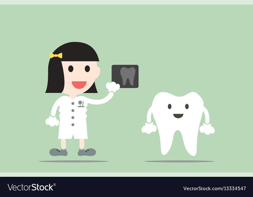 Tooth cartoon female dentist hold dental x-ray vector image