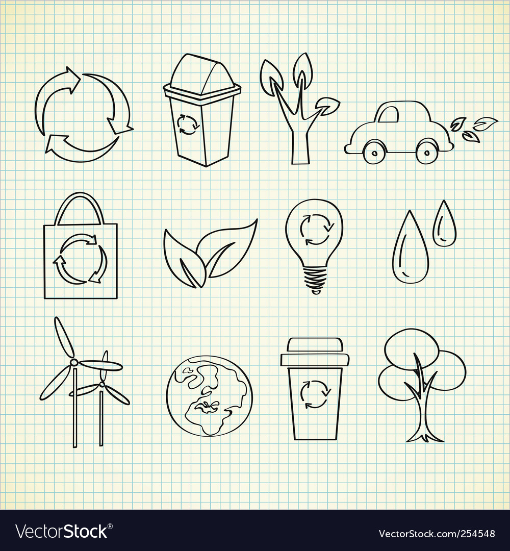 Ecology doodle vector image