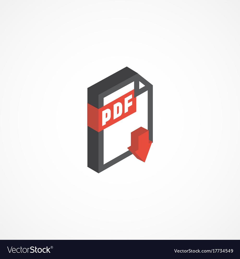 Pdf isometric icon 3d vector image