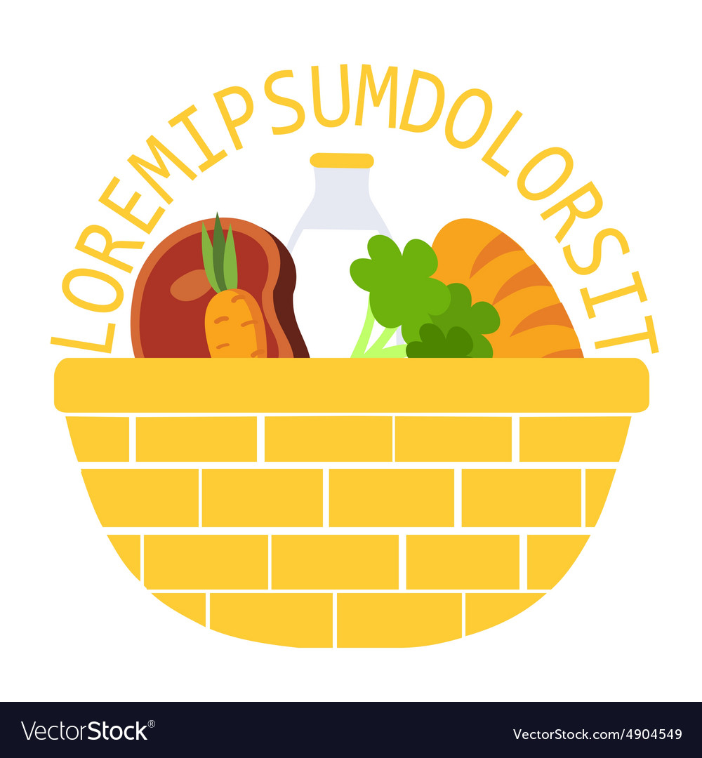 Wicker food basket flat vector image