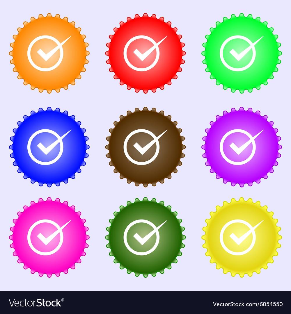 Check mark sign icon Checkbox button A set of nine vector image