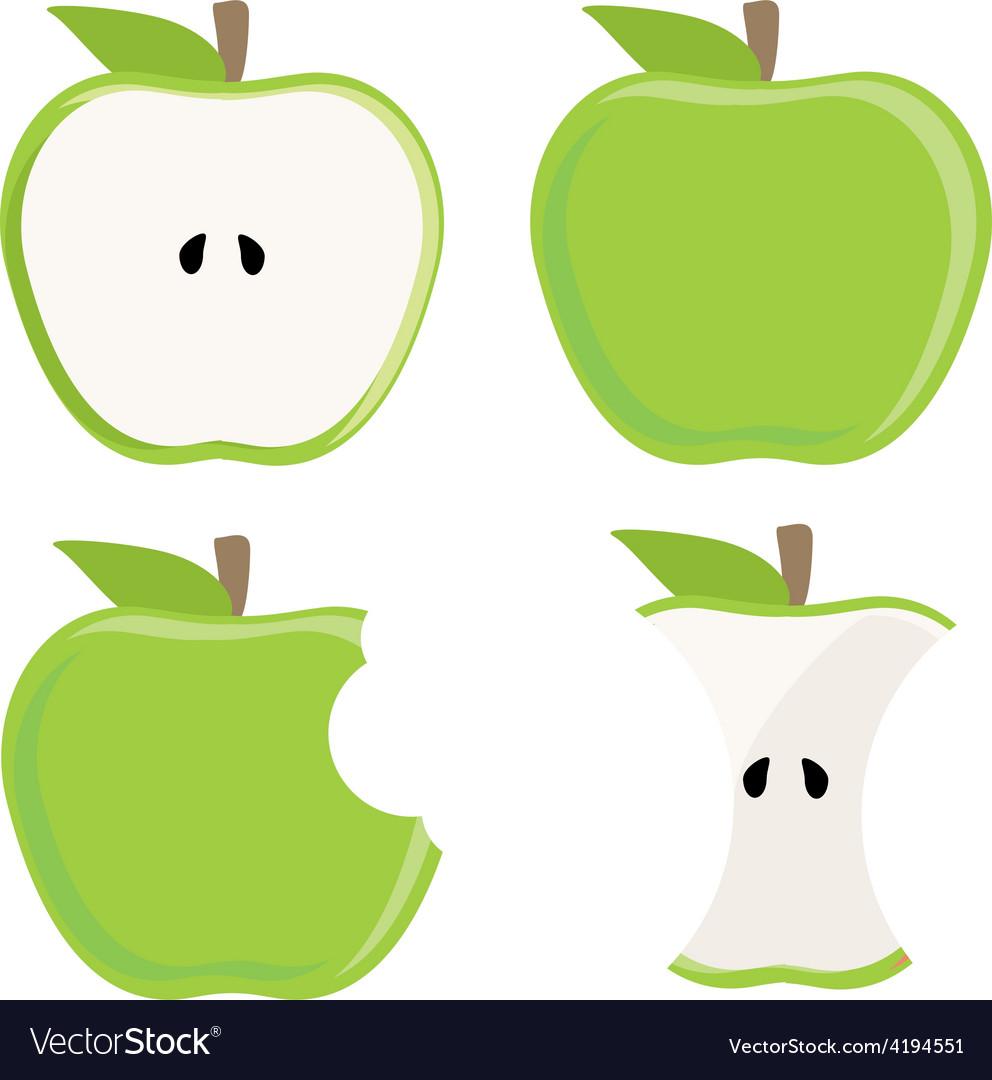 Green apple set vector image