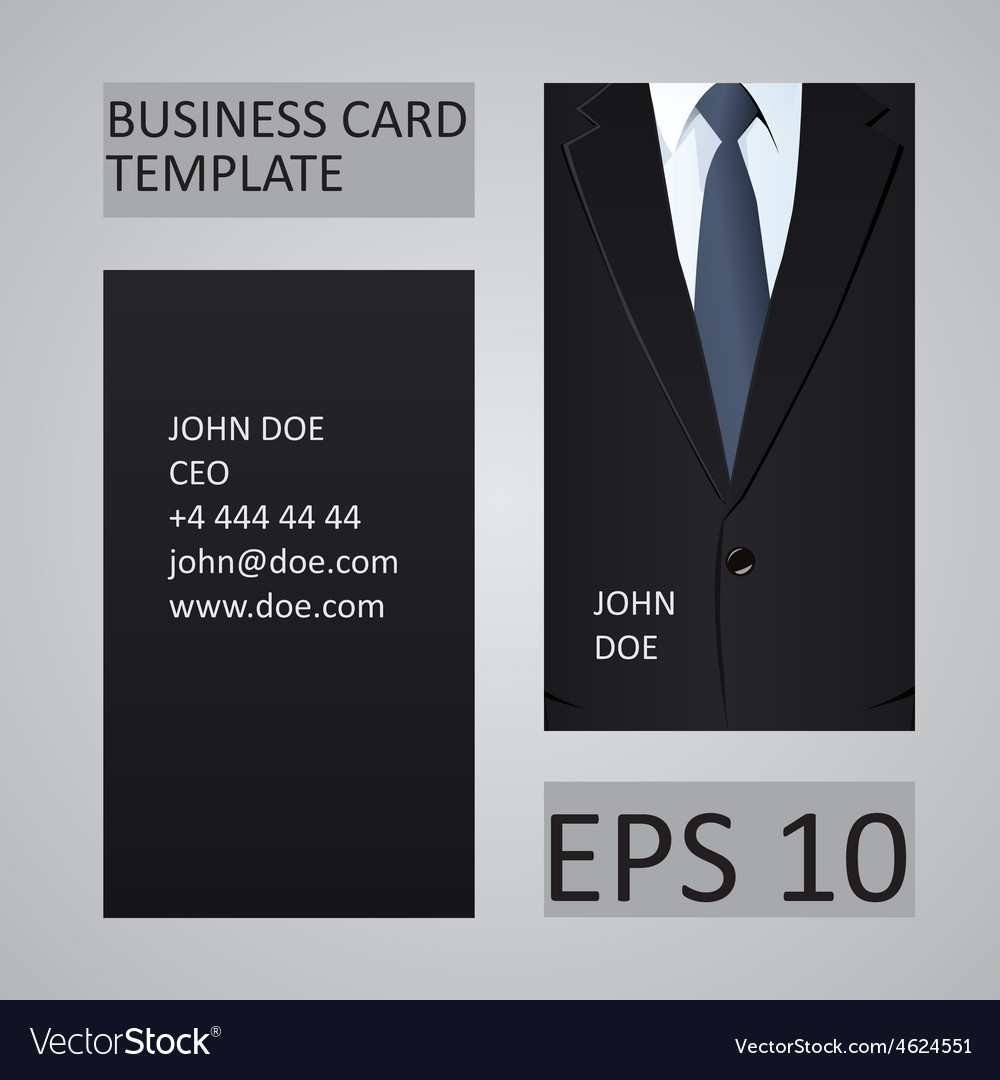 Suit business card template Royalty Free Vector Image