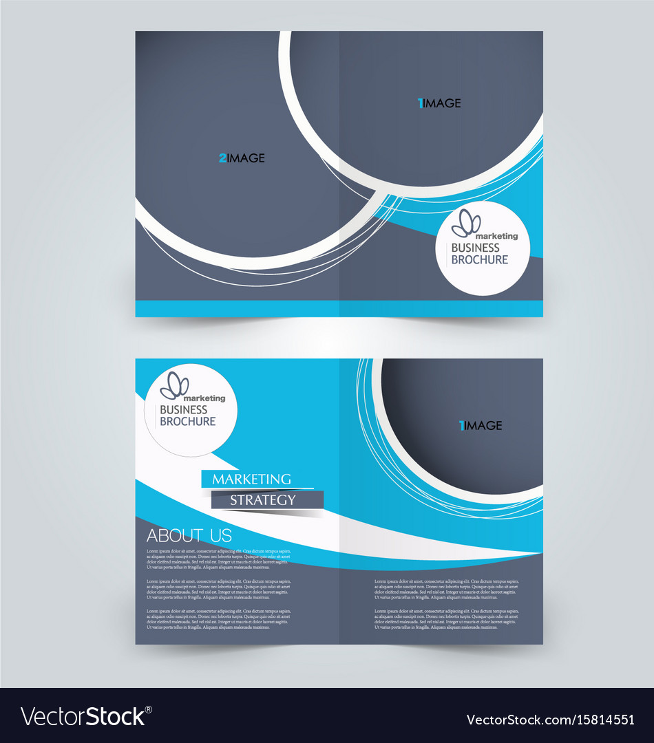 Two Page Fold Brochure Template Design Royalty Free Vector - Brochure template ideas