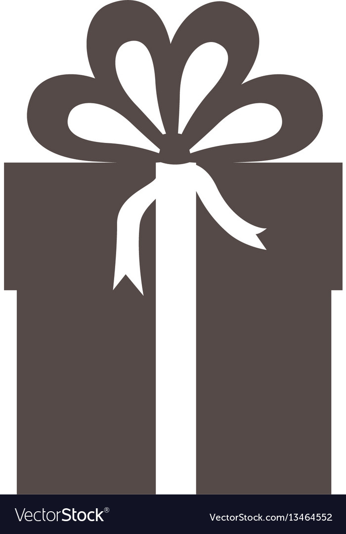 Gray box with bow ribbon icon vector image