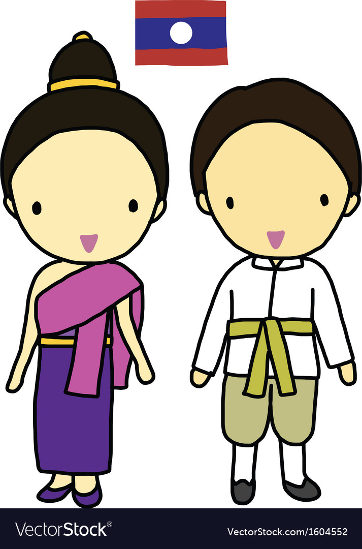 Laos traditional costume vector image