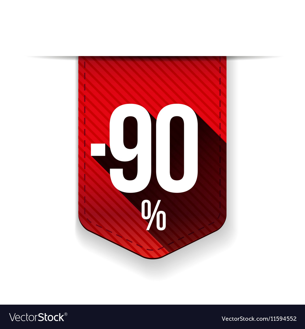 Sale ninety percent off banner red ribon vector image