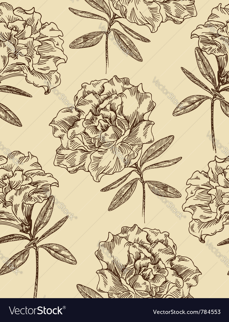 Azaleas seamless floral pattern Vector Image