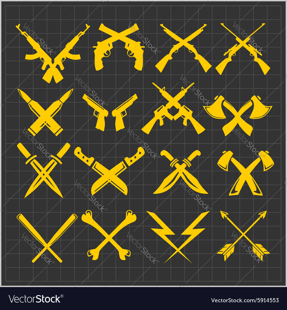 Crossed Weapons Collection in dark vector image
