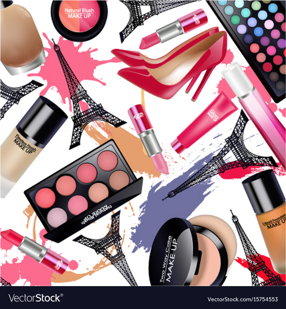 Sets of cosmetics with eiffel tower on white vector image