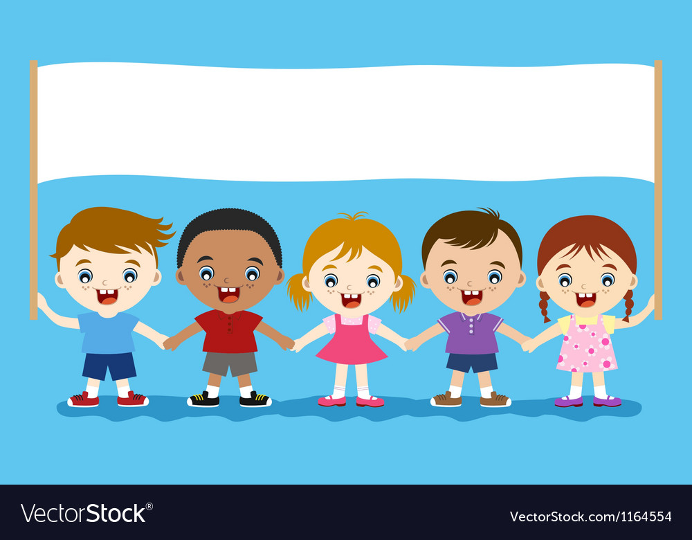 Children hand in hand with banner vector image