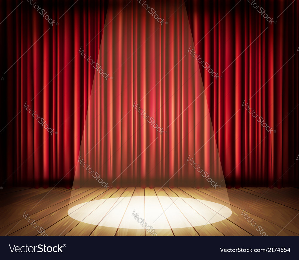 Stage curtains spotlight - A Theater Stage With A Red Curtain And A Spotlight Vector Image