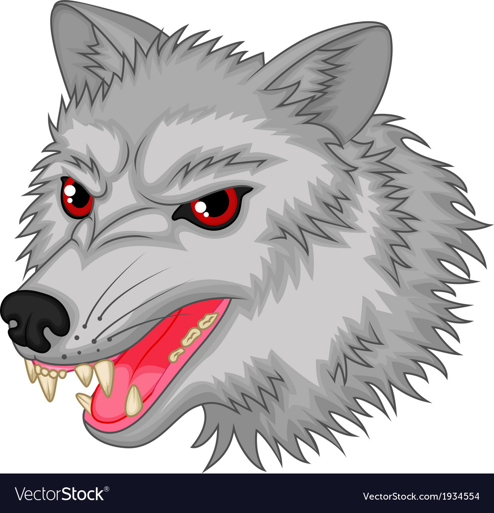 Angry wolf cartoon character vector image
