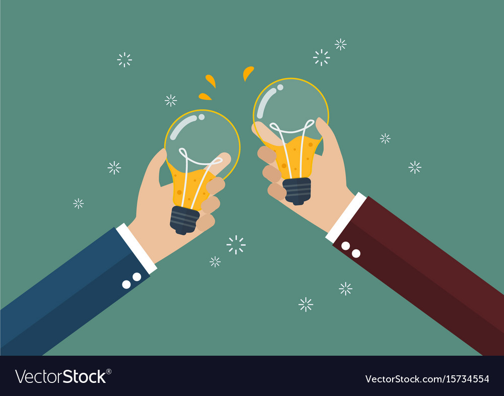 Businessmen toasting a lightbulb with beer inside vector image