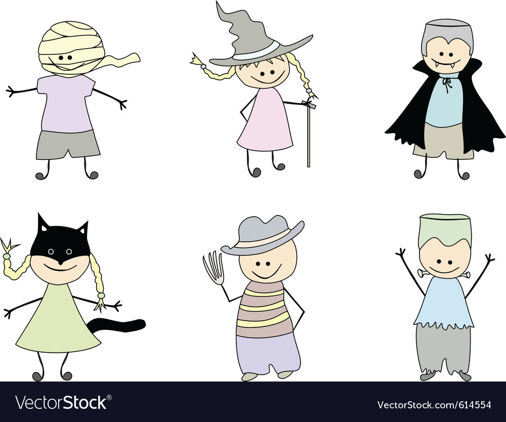 Childrens drawings for halloween vector image