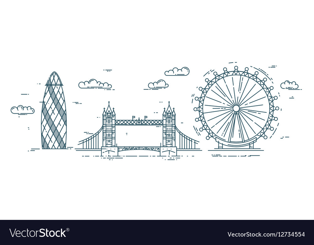 Modern flat line with London vector image