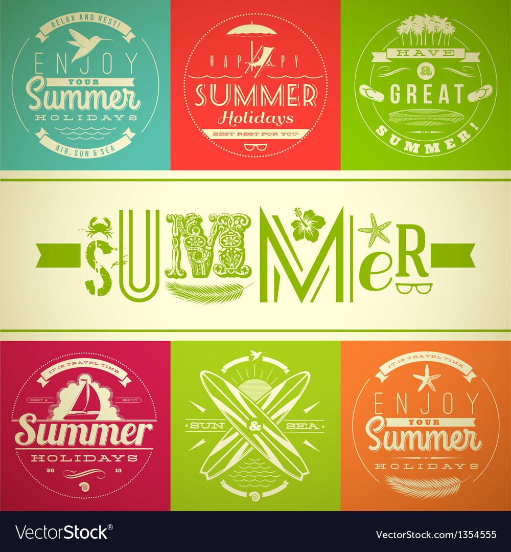 Set of summer vacation and holidays emblems vector image