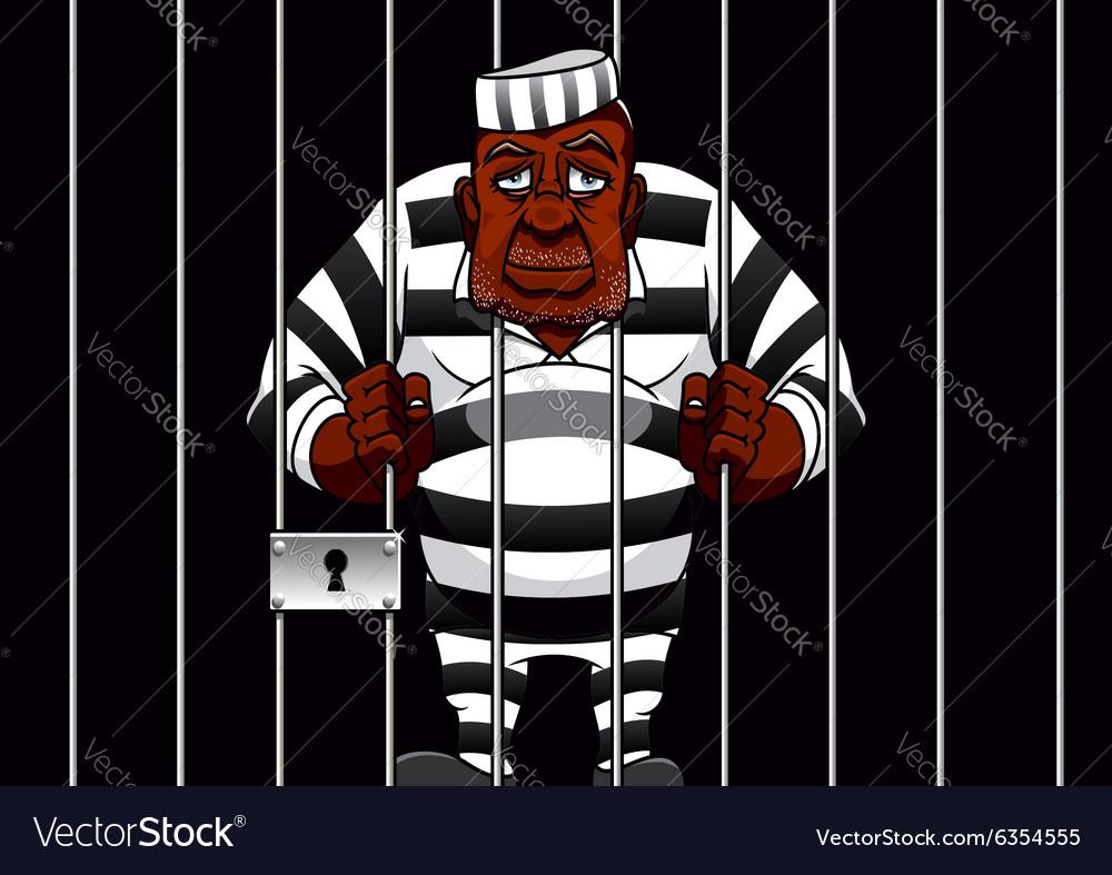 Cartoon prisoner behind bars in the prison vector image