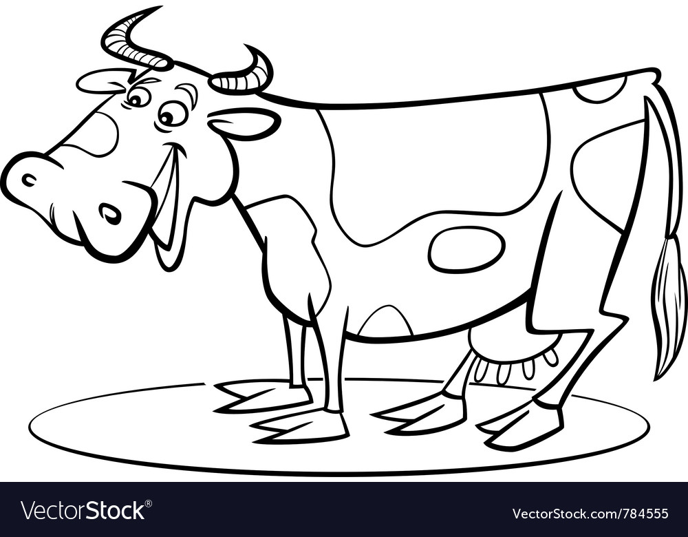 Coloring Page Of Funny Farm Cow Vector Image