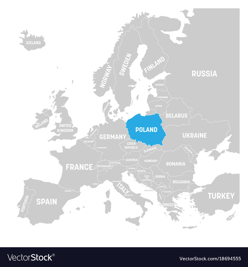 Poland Marked By Blue In Grey Political Map Of Vector Image - Poland political map