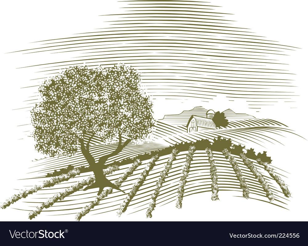Woodcut farm scene vector image