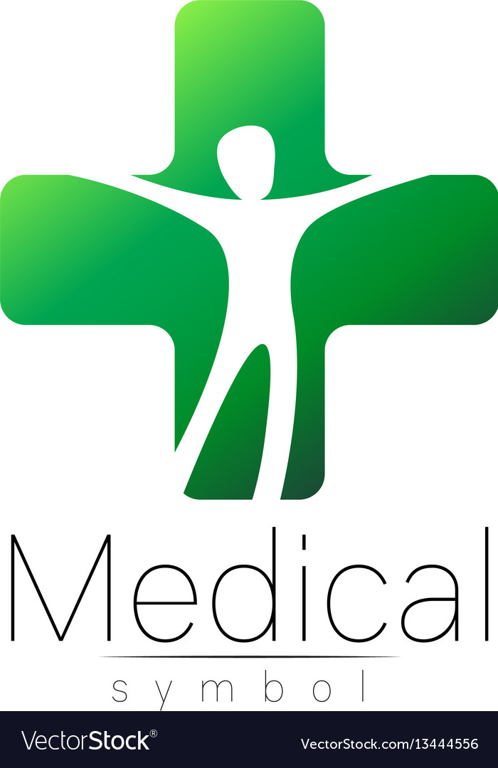 Medical sign with cross human inside vector image