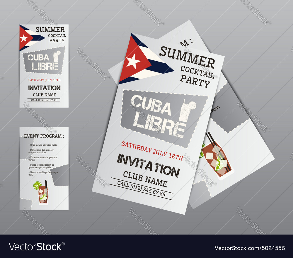 Summer cocktail party flyer invitation template vector image