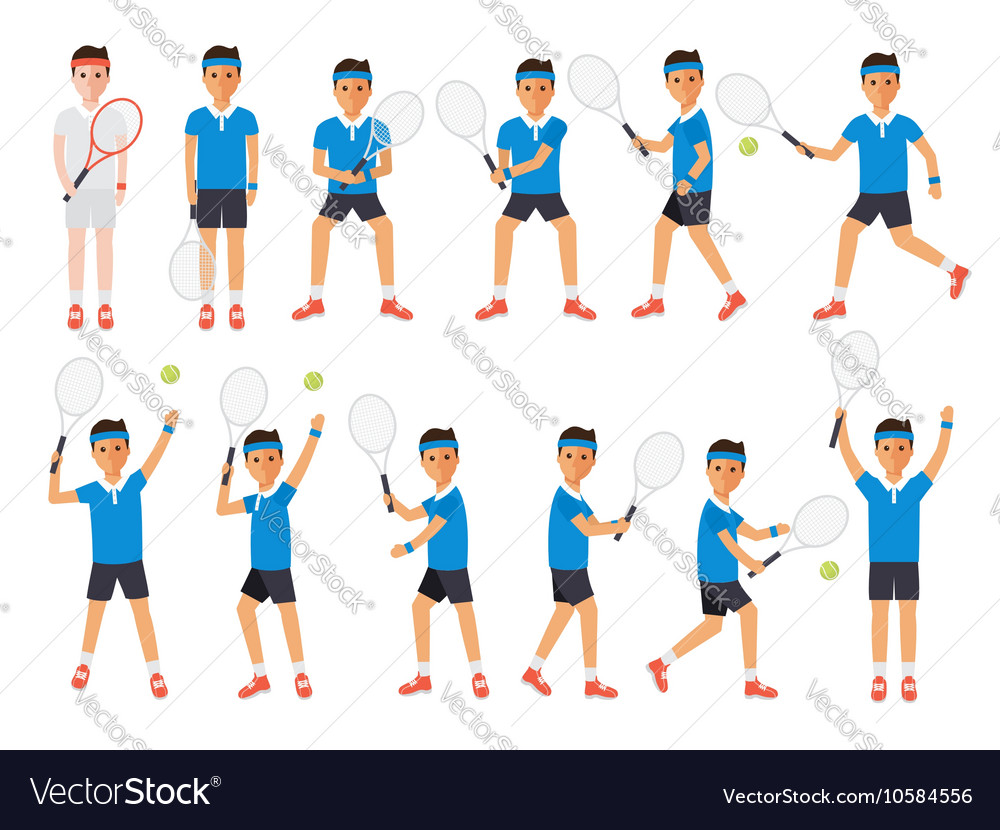 Tennis players tennis sport athletes in actions vector image