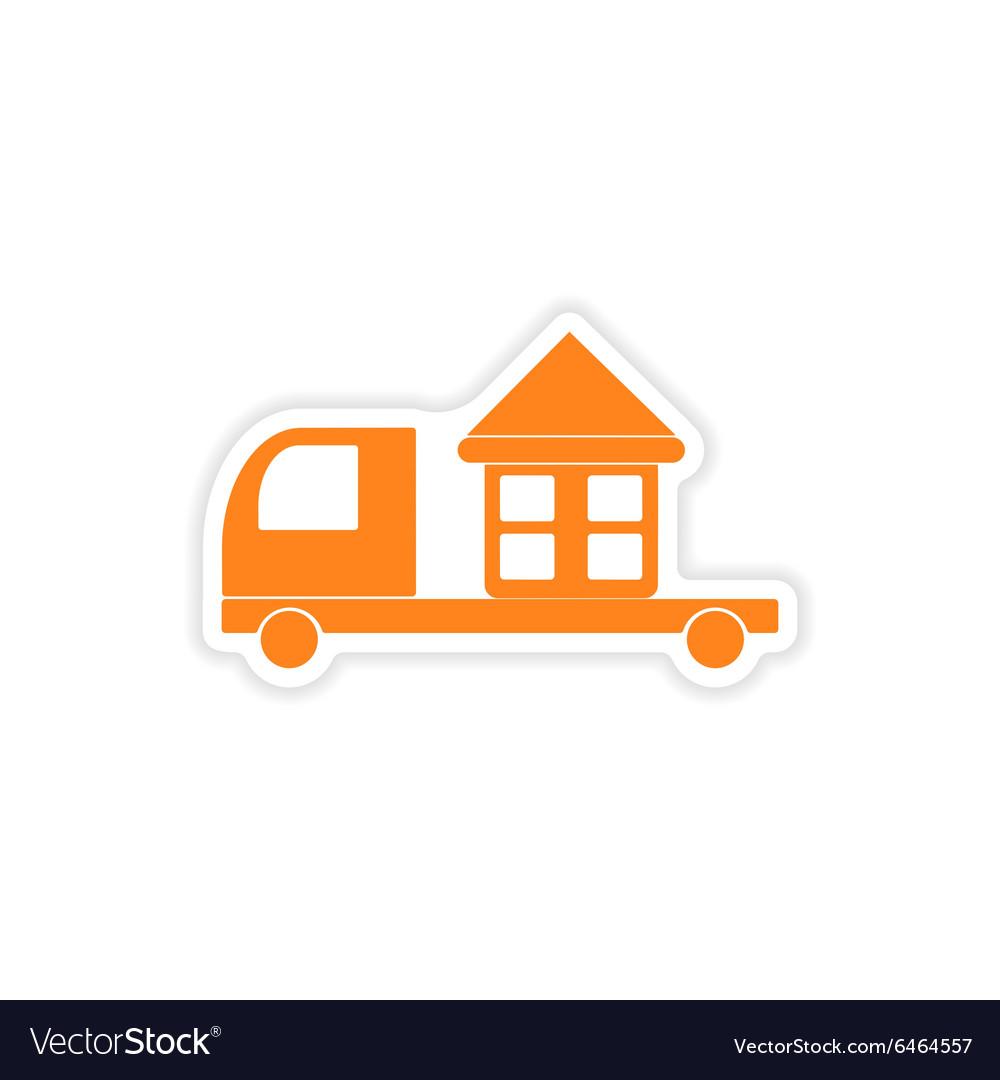 Icon sticker realistic design on paper truck home