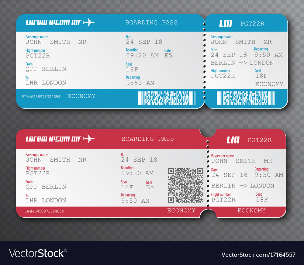 Airline boarding pass ticket tear-off element set vector image