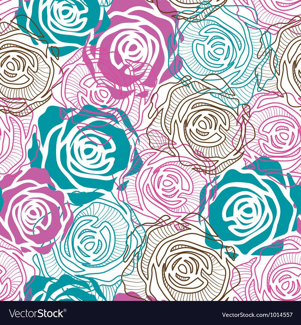 Color rose pattern vector image