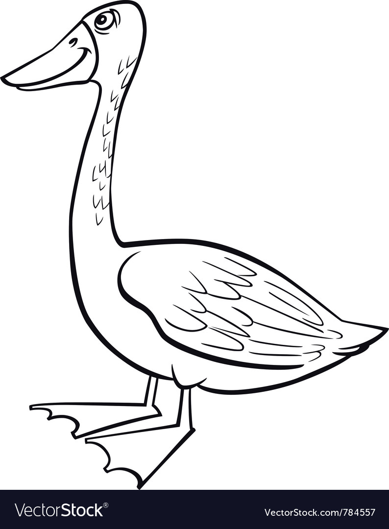 coloring page of funny farm goose royalty free vector image