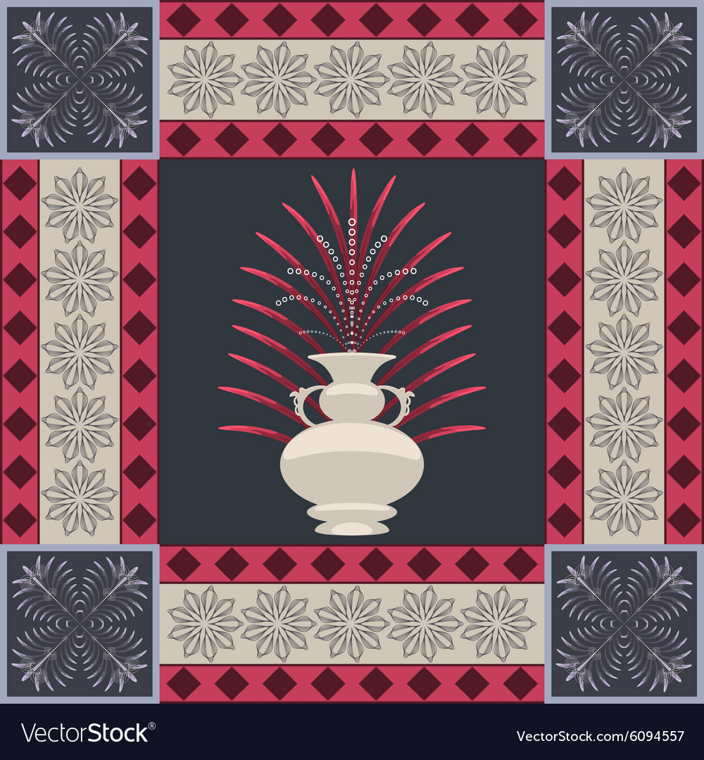 Oriental carpet vase and leaf decor element vector image