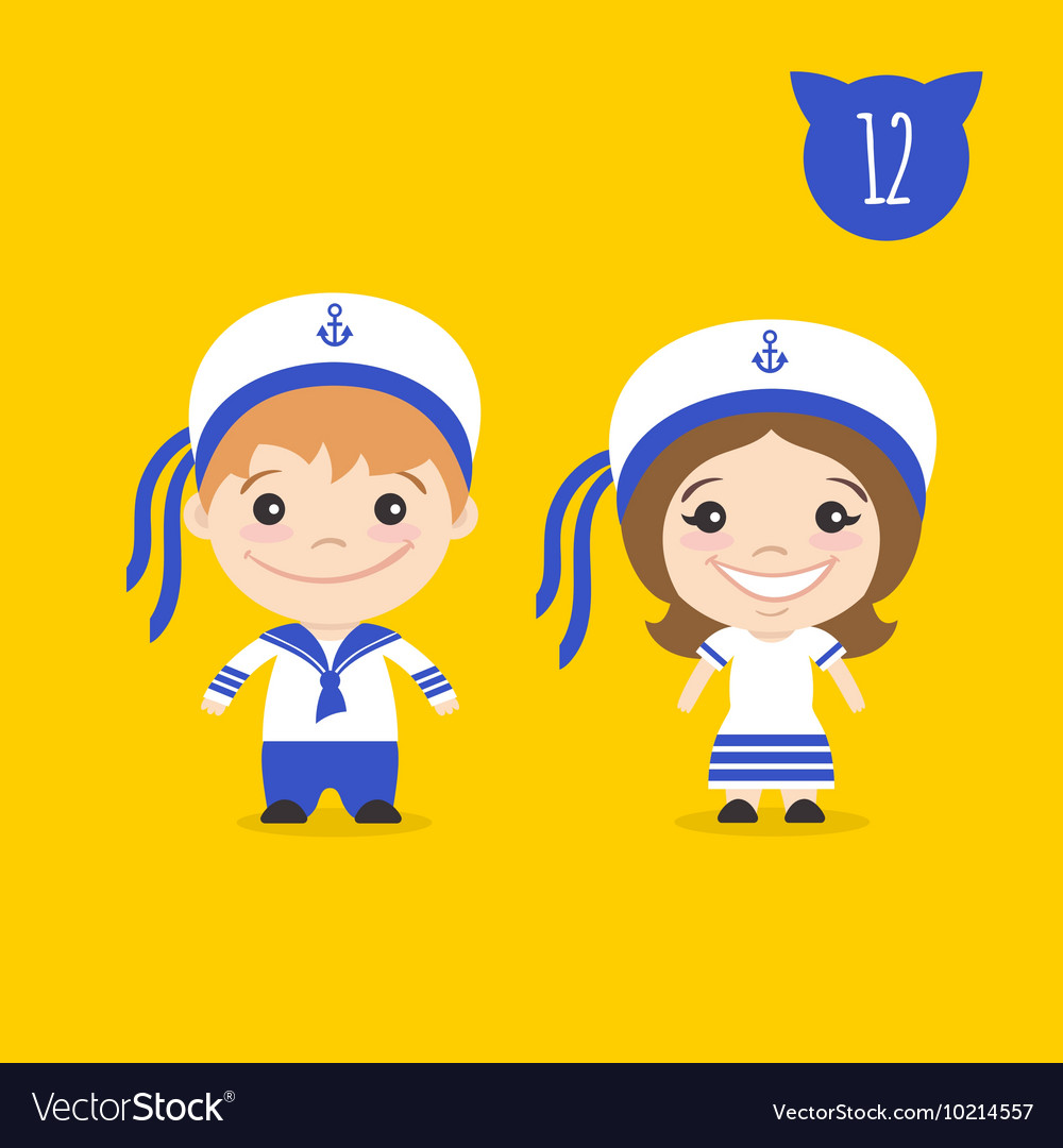 Two happy cute kids characters Boy and girl in vector image