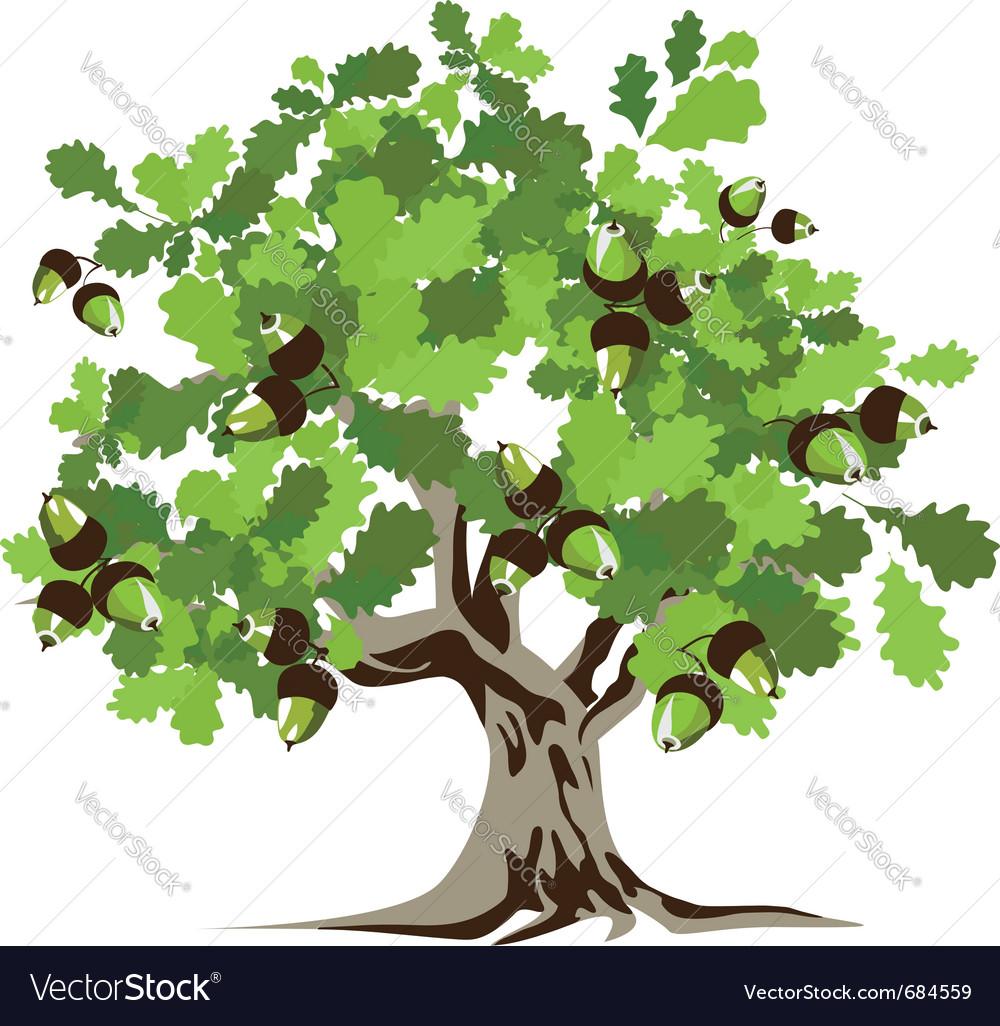 big green oak tree royalty free vector image vectorstock