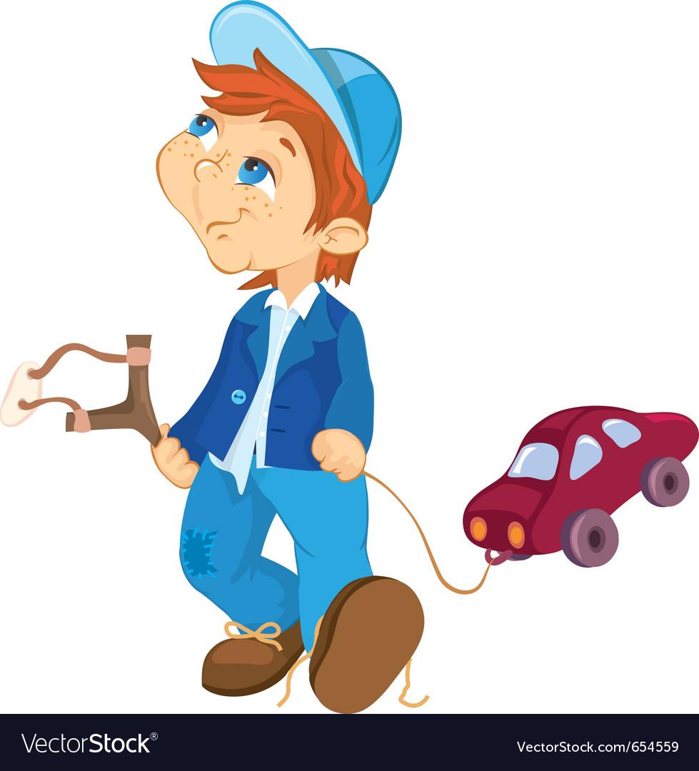 Naughty boy and toy car cartoon vector image