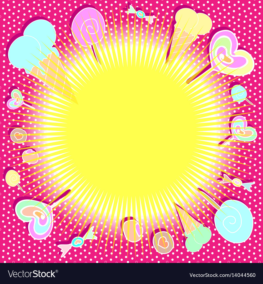 Bright colorful background with sweets vector image