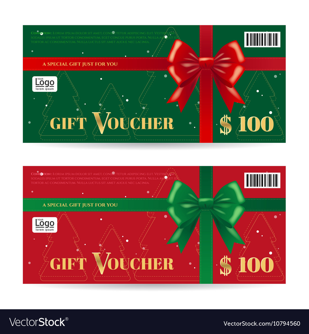 Christmas Gift Card Or Gift Voucher Template Vector Image  Christmas Voucher Template